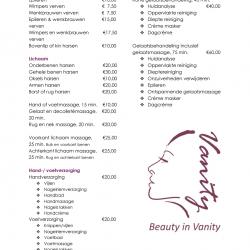 Prijslijst Schoonheidssalon Beauty in Vanity Heerenveen afbeelding